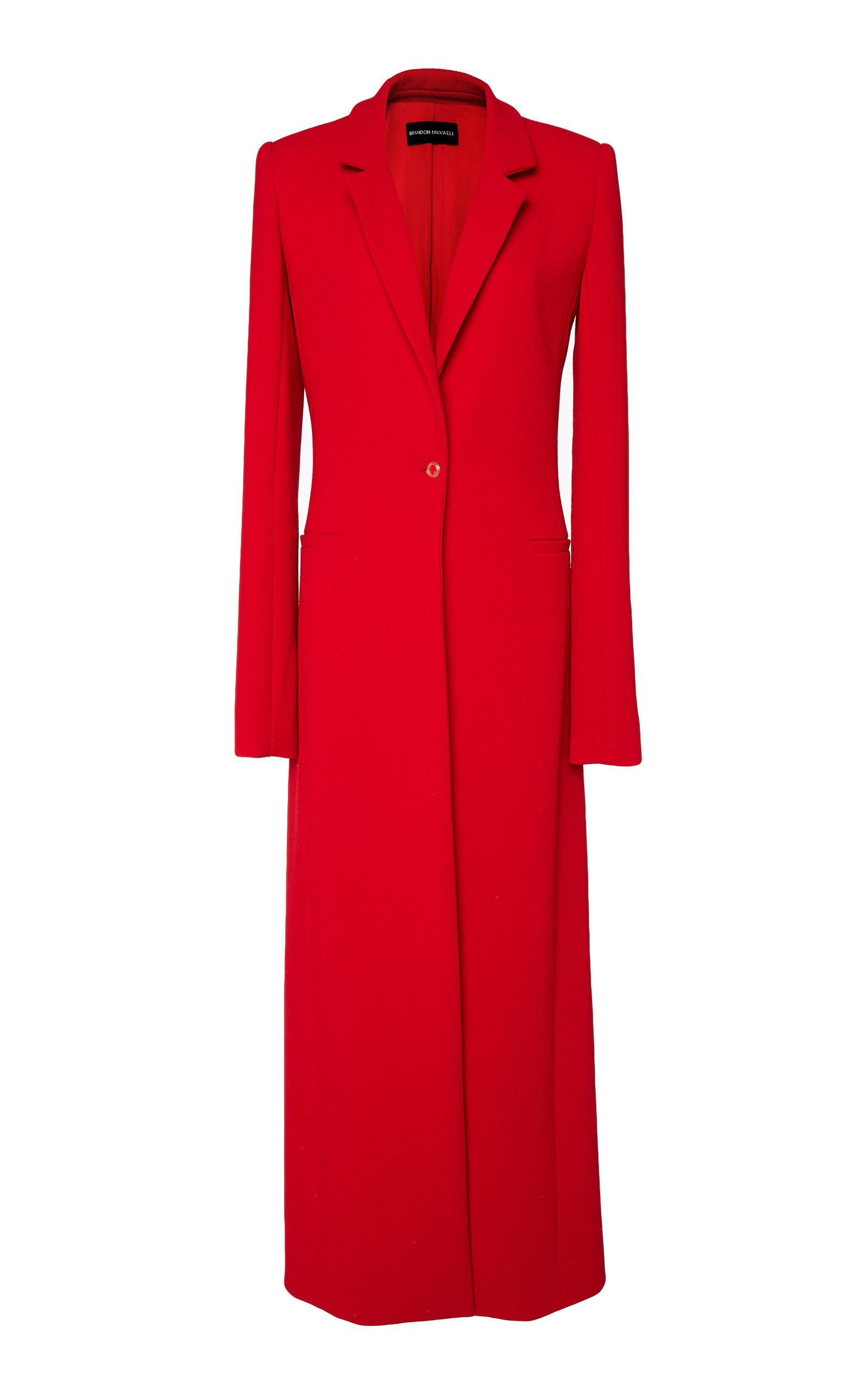 Brandon Maxwell Wool Crepe Overcoat In Red