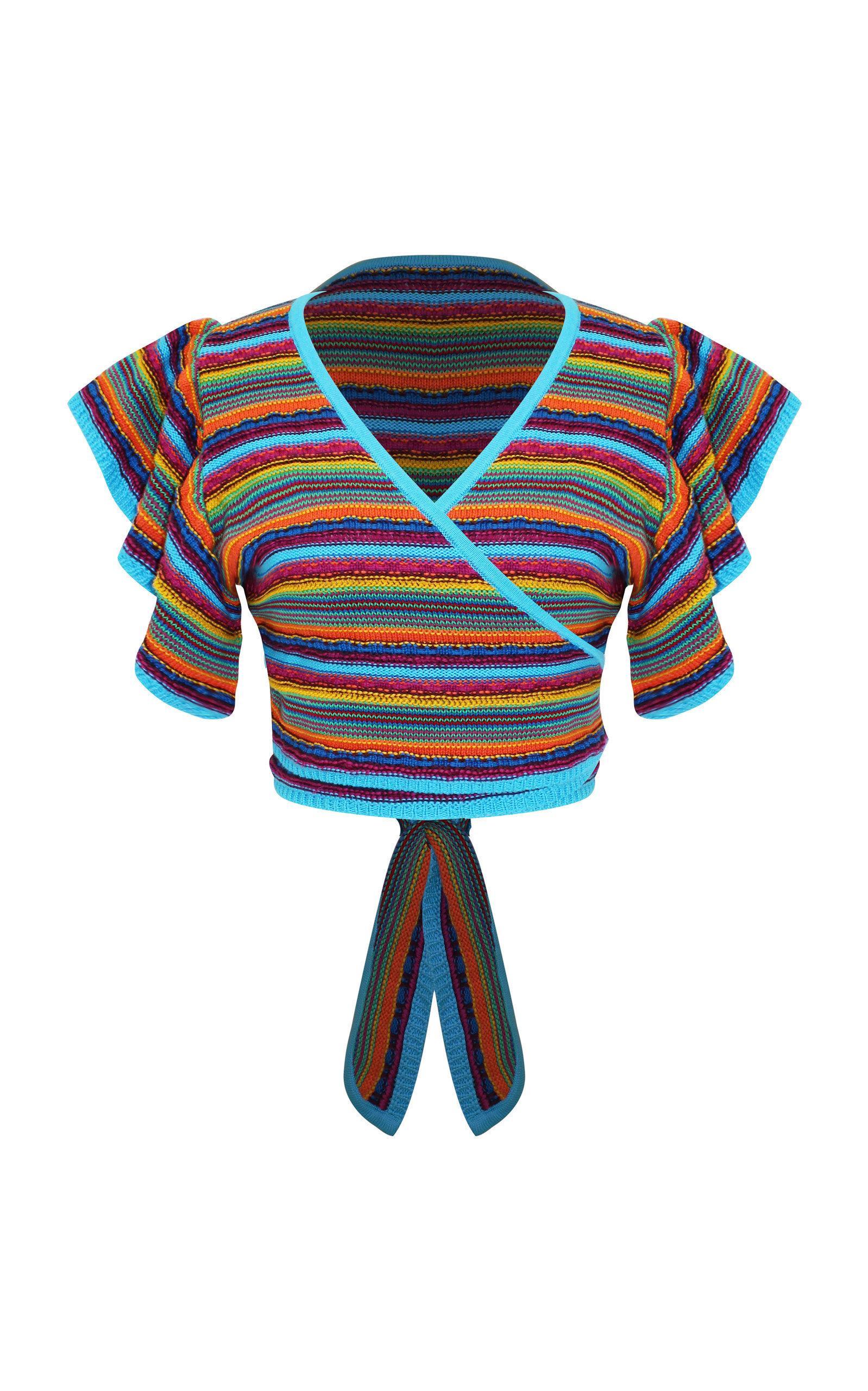 All Things Mochi Lana Cotton Crochet Wrap Top In Multi