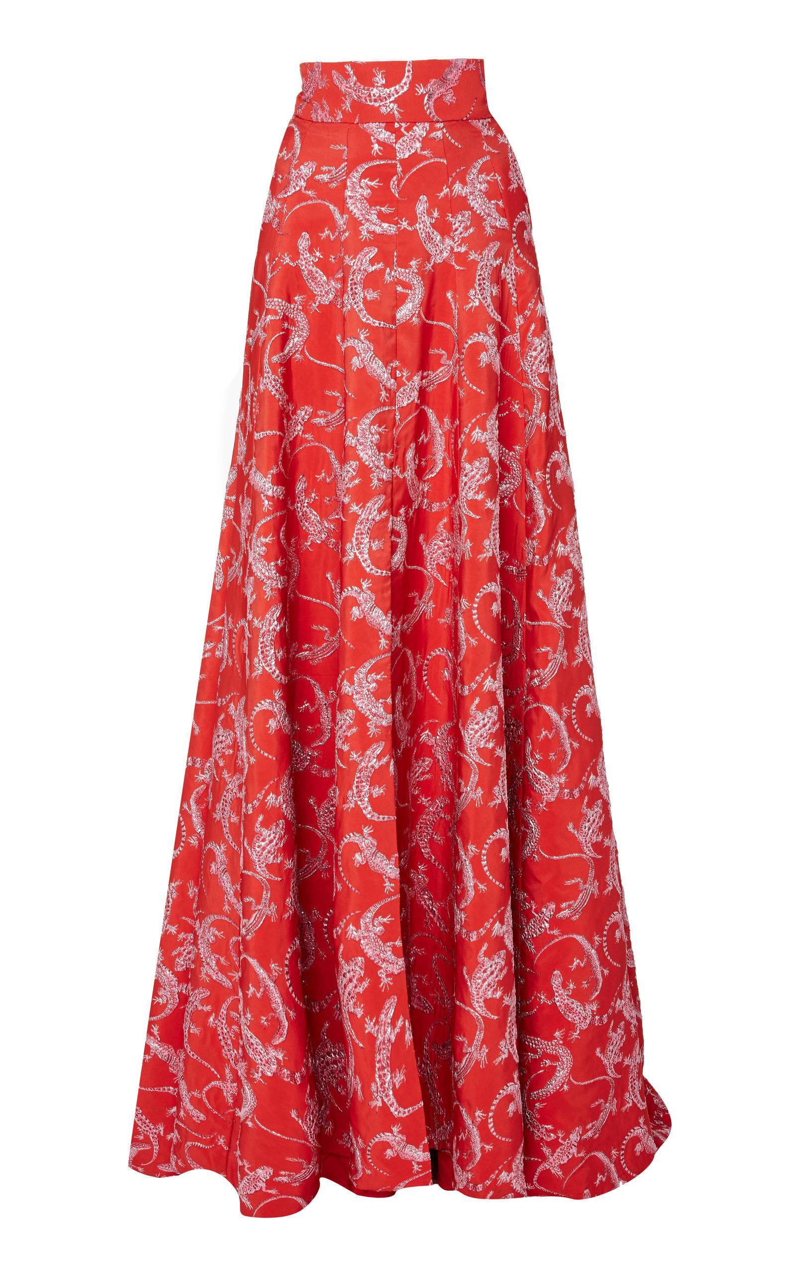 Brandon Maxwell High-waisted Jacquard Ball Skirt In Red