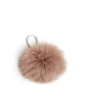 Etienne Aigner Pom-pom Bag Charm In Funghi/silver
