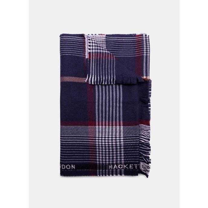 Hackett Branded Trim Plaid Virgin Wool Scarf