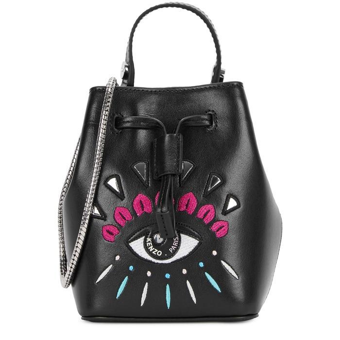 Kenzo Iconic Eye Mini Leather Bucket Bag In Black