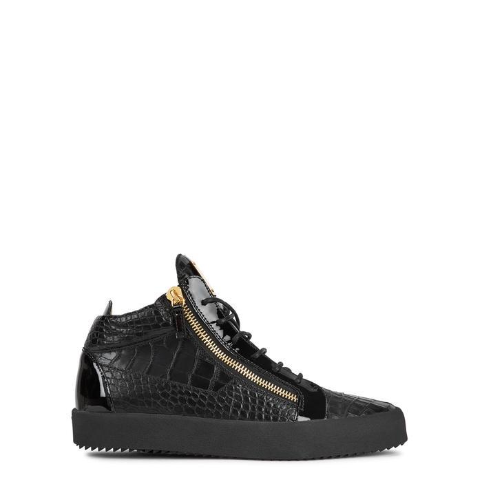 Giuseppe Zanotti Kriss Crocodile-effect Leather Hi-top Trainers In Black
