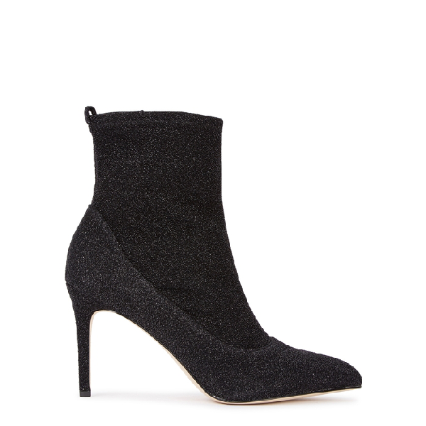 Sam Edelman Olson Glittered Stretch-knit Ankle Boots In Black