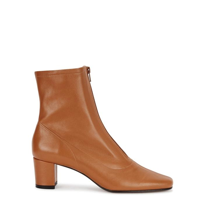 By Far Neva Brown Leather Ankle Boots