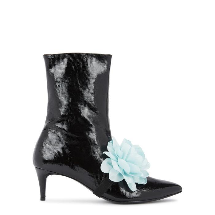 Leandra Medine Black Patent Leather Ankle Boots