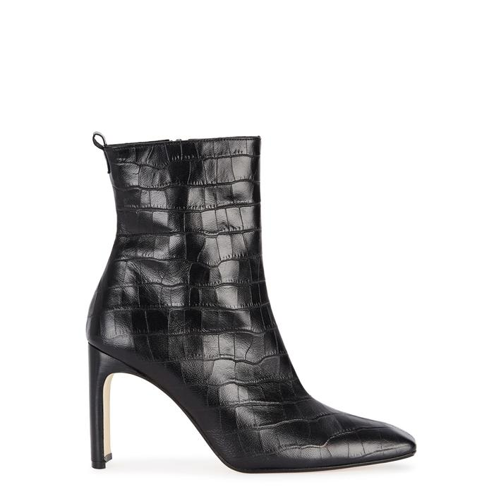 Miista Marcelle Crocodile-effect Ankle Boots In Black