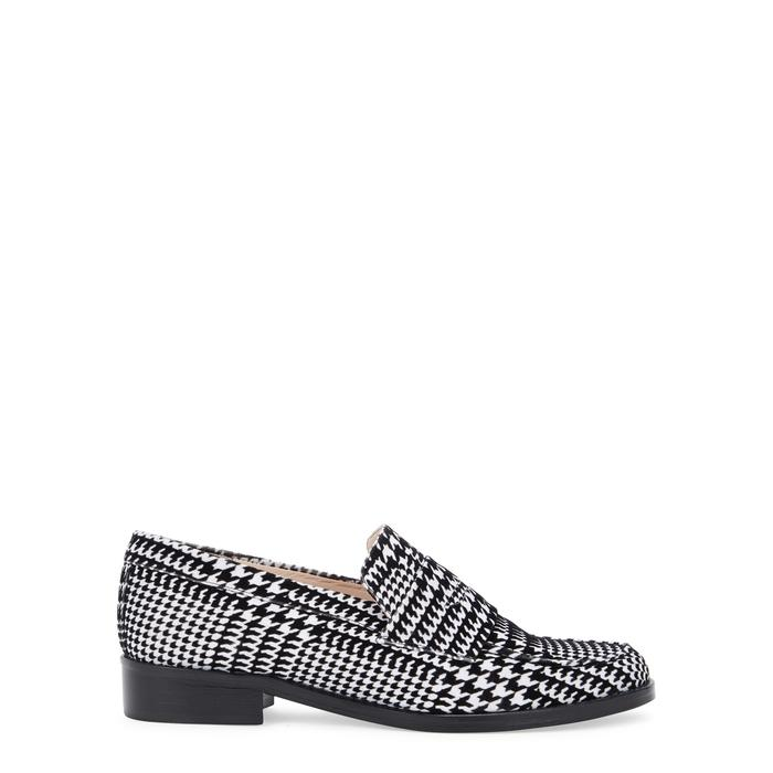 Leandra Medine Houndstooth Flocked Loafers In Black And White