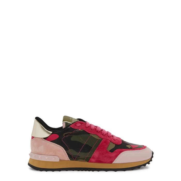 253fc8d166f4e Valentino Runner Camouflage-Print Suede Trainers In Pink | ModeSens