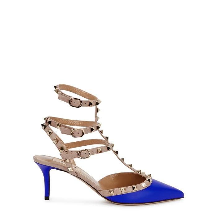 Valentino Rockstud 65 Blue Leather Pumps In Bright Blue