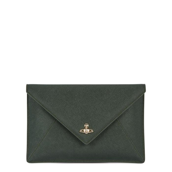 acfeebc8cd1 Vivienne Westwood Victoria Green Leather Envelope Clutch | ModeSens