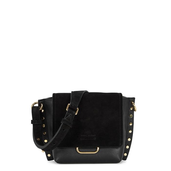 Isabel Marant Kleny Black Suede And Leather Saddle Bag