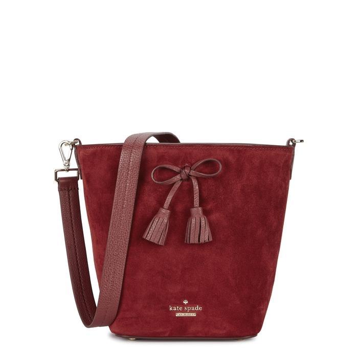 Kate Spade Hayes Street Vanessa Red Suede Shoulder Bag In Dark Red