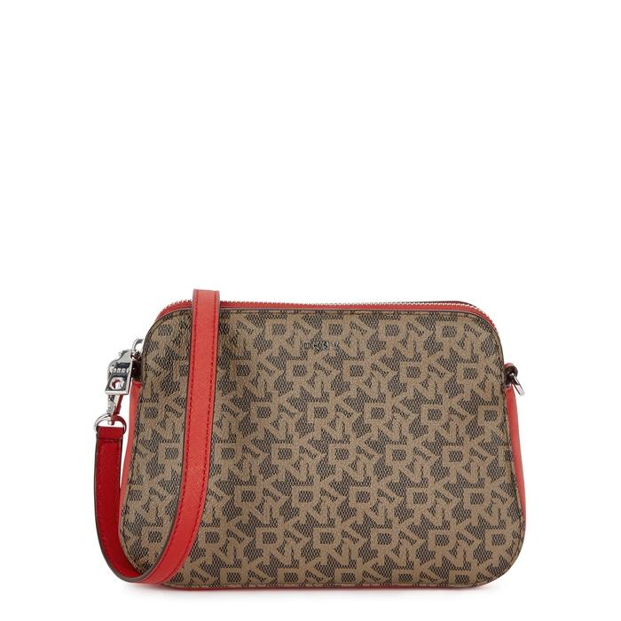 Dkny Monogrammed Leather Cross-body Bag In Multicoloured