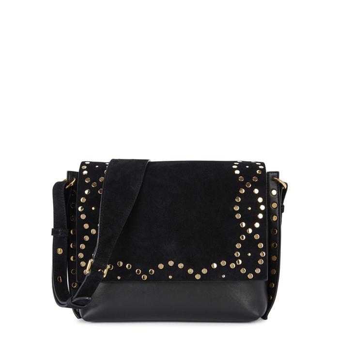 Isabel Marant Asli Zoe Suede And Leather Shoulder Bag In Black