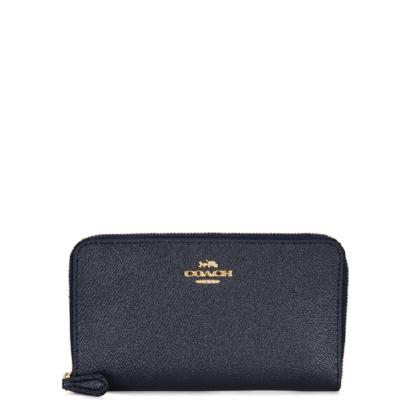 Coach Accordian Navy Leather Wallet