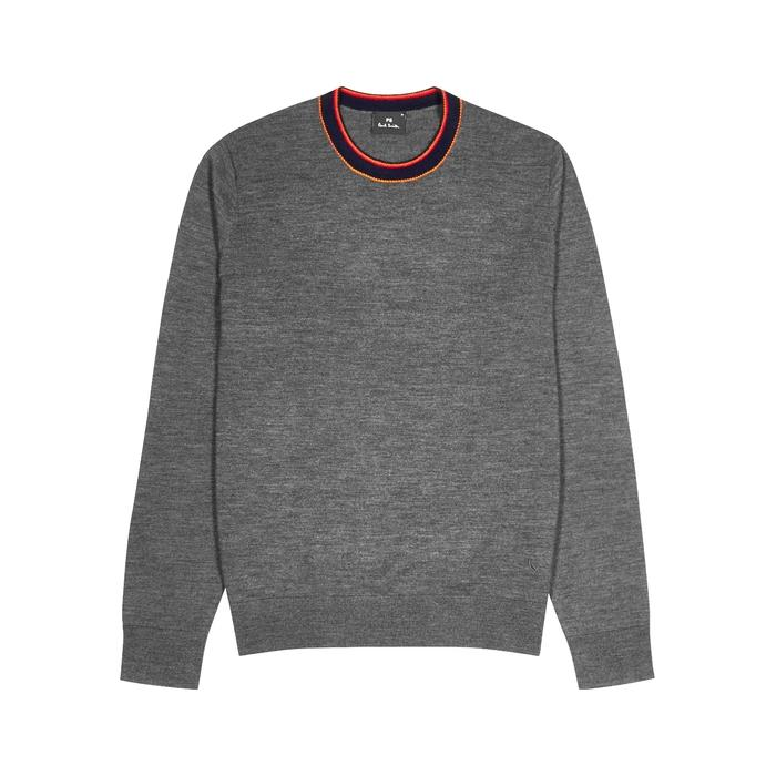 Ps By Paul Smith Grey Striped Wool-blend Jumper
