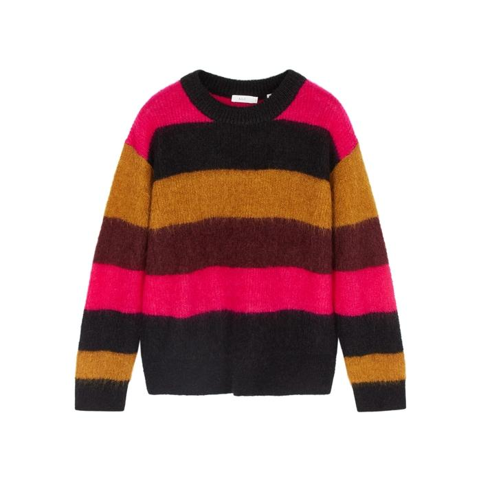 A.l.c Waverly Striped Mohair-blend Jumper In Pink