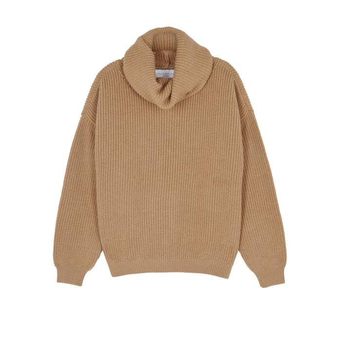 Opportuno Kora Roll-neck Wool Jumper In Beige