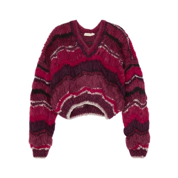 Oneonone Mixed Striped Mohair-blend Jumper In Red