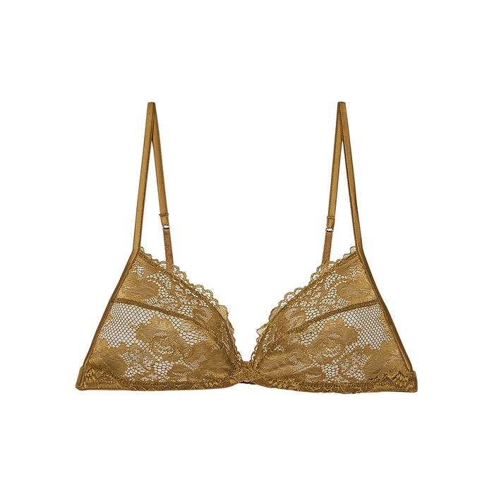 Savage X Fenty Triangle Lace Bralette In Olive