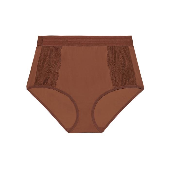 Savage X Fenty High-waist Lace Brief In Dark Brown
