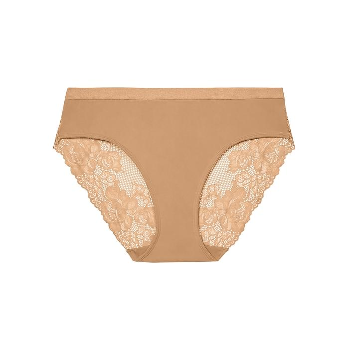Savage X Fenty Lace Back Hipster Briefs In Tan