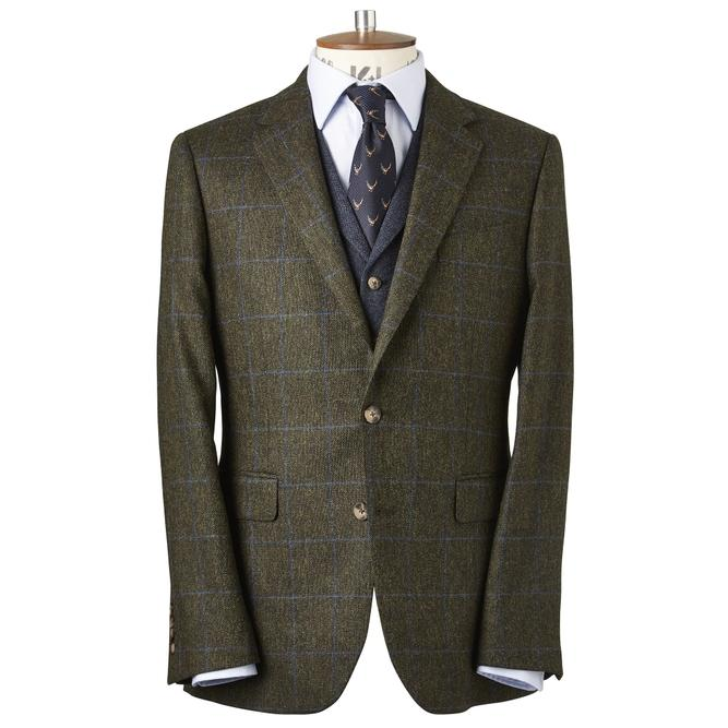 Chester By Chester Barrie Shetland Windowpane Sports Jacket In Green