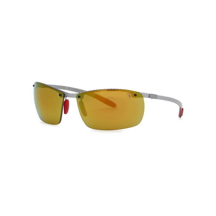 Ray Ban X Scuderia Ferrari Square-frame Sunglasses In Brown