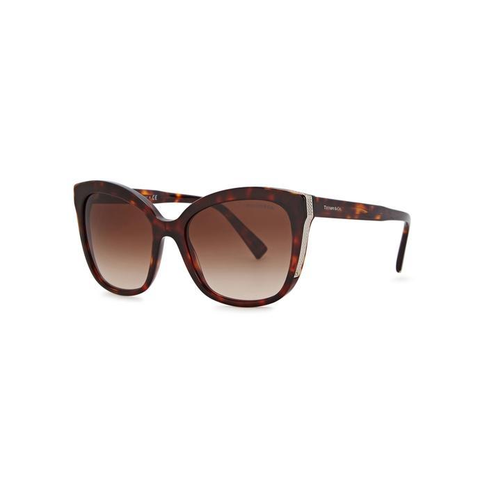Tiffany & Co Tortoiseshell Oversized Sunglasses In Havana