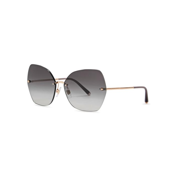Dolce & Gabbana Rose Gold-tone Cat-eye Sunglasses In Grey