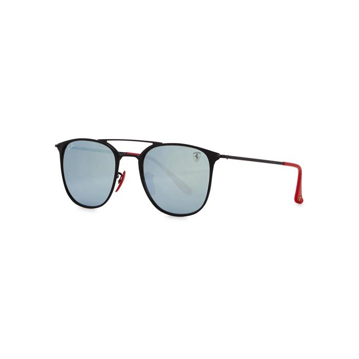 Ray Ban X Ferrari Black Oval-frame Sunglasses