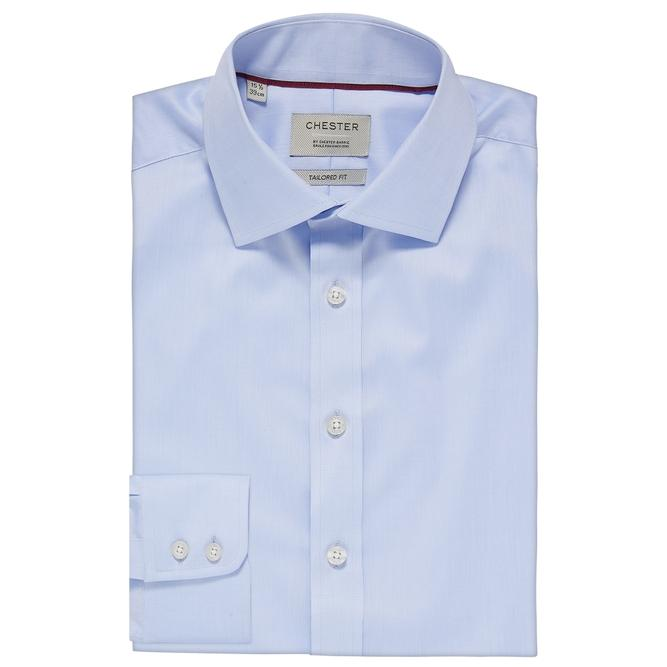 Chester By Chester Barrie Traveller Plus Stretch Twill Shirt In Blue