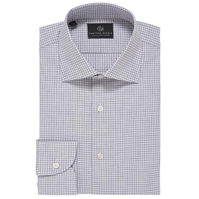 Chester Barrie Melange Gingham Check Shirt In Grey