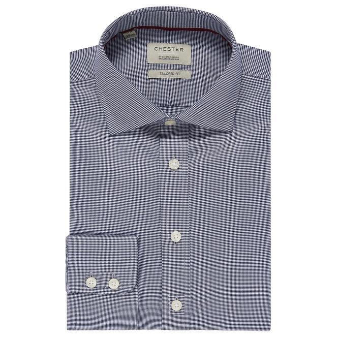 Chester By Chester Barrie Puppytooth Tailored Fit Shirt In Navy