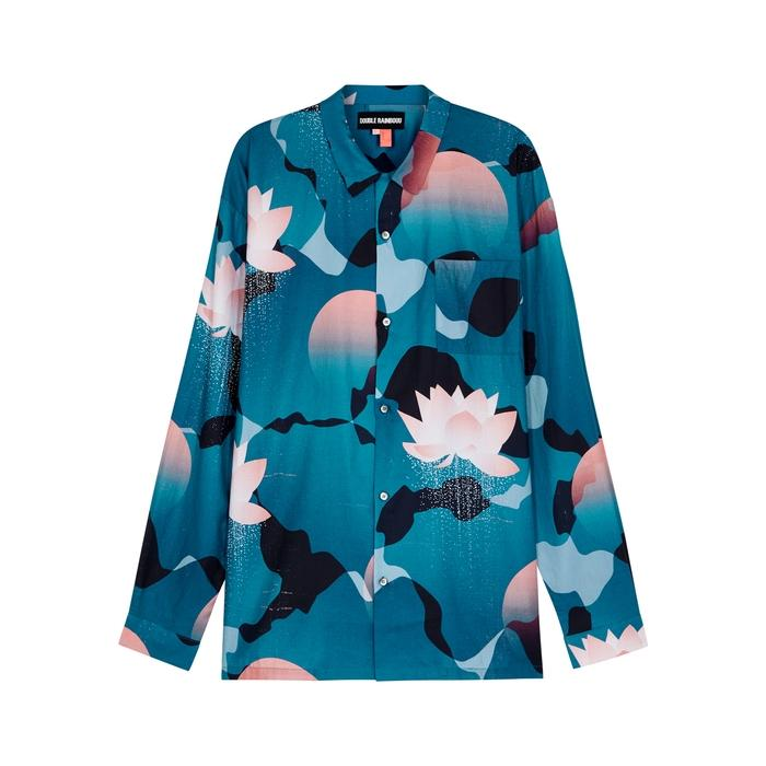 Double Rainbouu Kyoto Song Printed Cotton Shirt In Blue