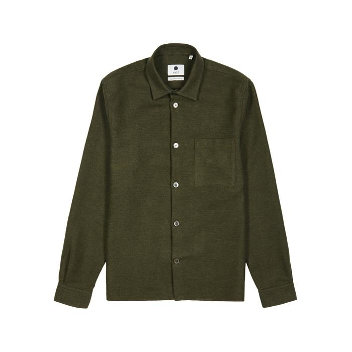 Nn07 Basso Dark Green Cotton Shirt In Khaki