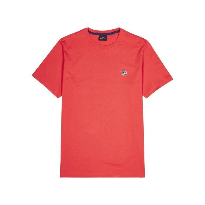 Ps By Paul Smith Zebra-appliquéd Cotton T-shirt In Orange