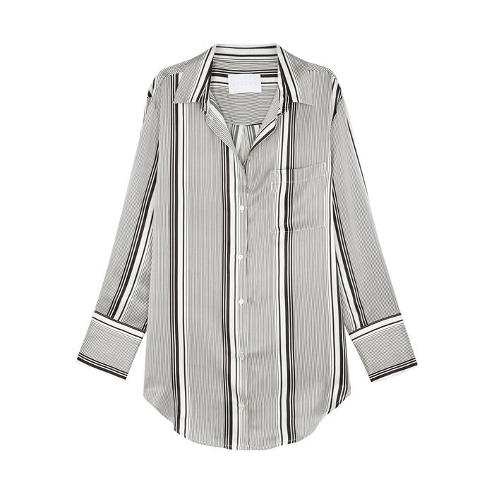 Asceno Striped Silk Pyjama-style Blouse In Black