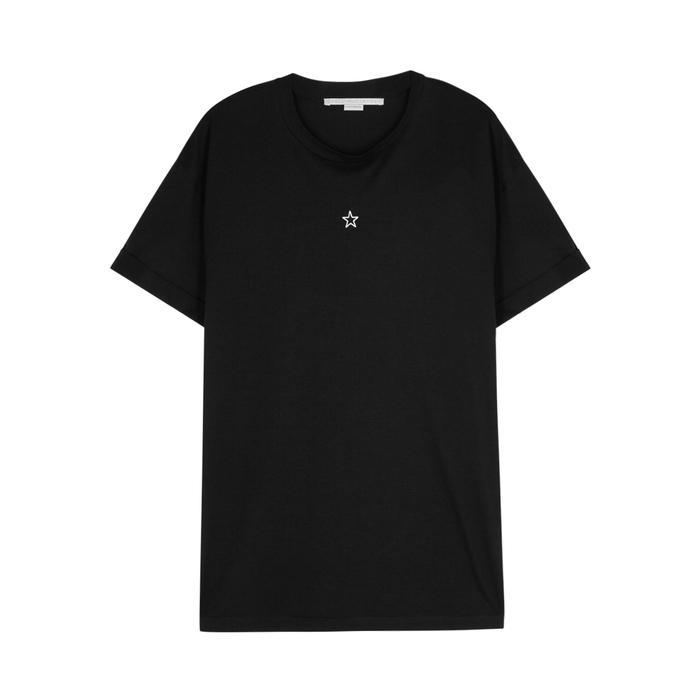 Stella Mccartney Black Star-embroidered Cotton T-shirt