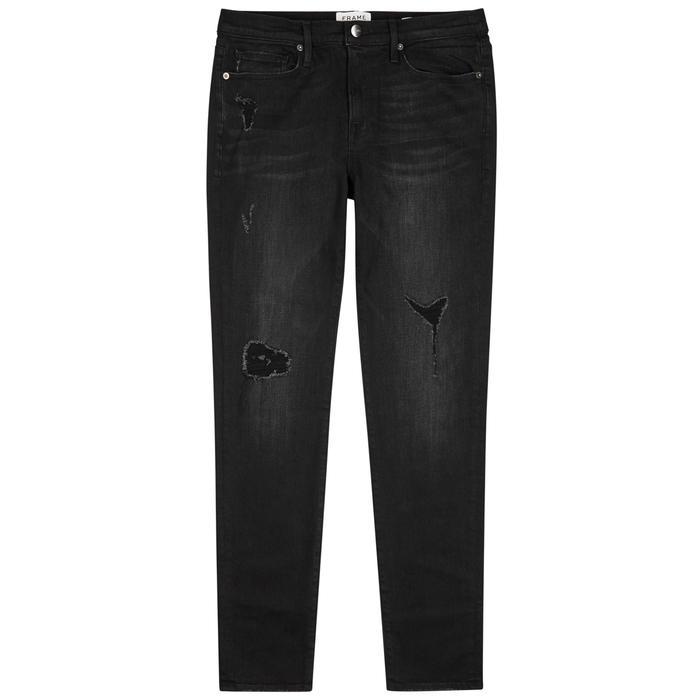 Frame L'homme Distressed Skinny Jeans In Black