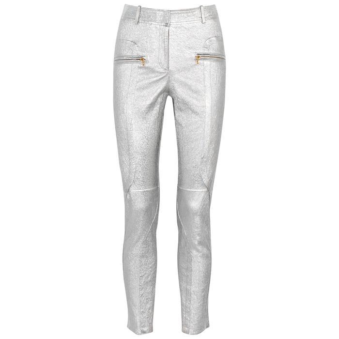 Sies Marjan Brin Silver Leather Trousers