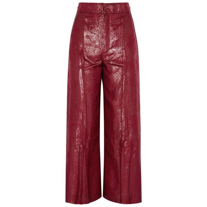 Roland Mouret Costello Metallic Silk-blend Trousers In Red