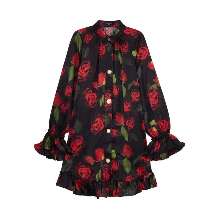 Mother Of Pearl Esme Rose-print Silk Satin Dress In Red