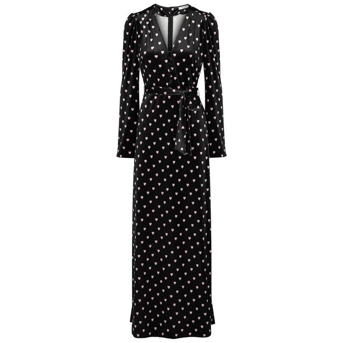 Vivetta Fabritius Heart-print Velvet Maxi Dress In Black