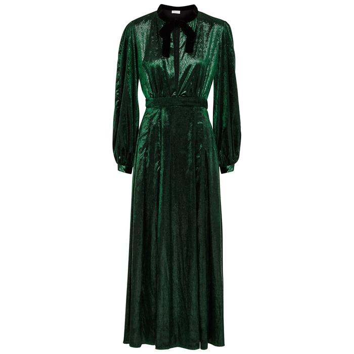 Raquel Diniz Armonia Dark Green Metallic Chenille Dress