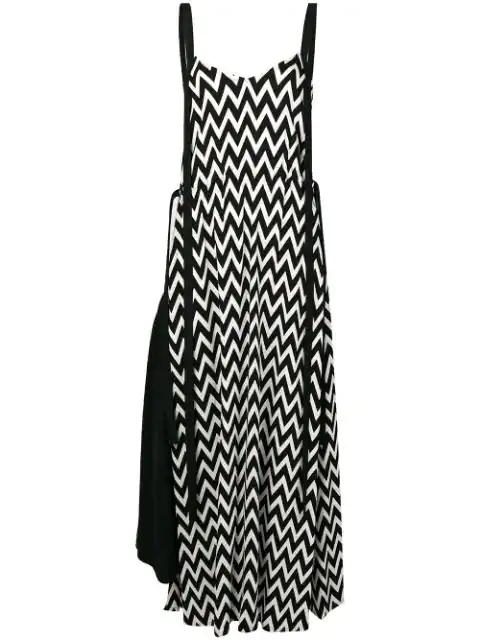 Loewe Monochrome Chevron-print Midi Dress In Black