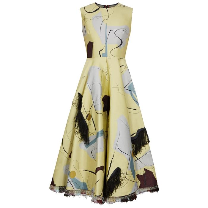 Roksanda Emese Fil CoupÉ Jacquard Dress In Yellow