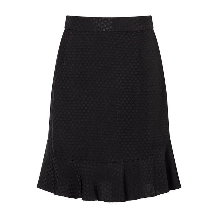 Jigsaw Spot Jacquard Frill Hem Skirt
