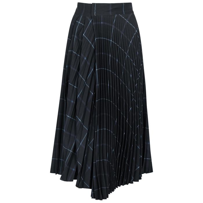 Vince Checked Pleated Cady Midi Skirt In Black